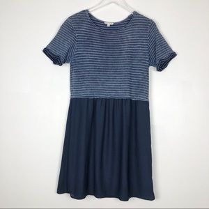Jane and Delancey Baby Doll Dress Navy Blue Small